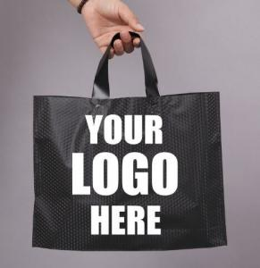 Wholesale Compostable bio eco Merchandise Bag With Die Cut Handles Tear Resistant Strength | Perfect For Trade Shows, Retail from china suppliers