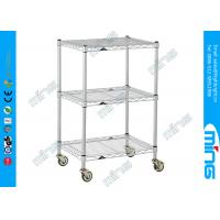 Wholesale 3 Tiers Chrome Mobile Wire Shelving with Wheels for Shoes Storage from china suppliers