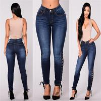 Wholesale Tight Stretch Feet Womens High Waisted Distressed Jeans Softener Fabric Type from china suppliers