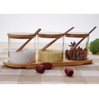 Wholesale Seasonings Transparent Glass Jars Flavor Bottle Set With Wooden Spoon Tray from china suppliers