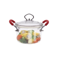 Wholesale 1.5L Clear Borosilicate Glass Soup Pot With Red Double Ears from china suppliers