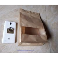 China Laminated Brown Craft Paper Bags With Transparent Window In Front For Garment on sale