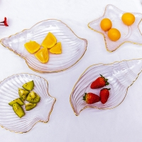Wholesale Creative Ocean Style Crystal Glass Shell Plate Salad Plate Decorative Plate With Gold Rim from china suppliers