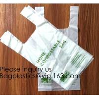 Wholesale OK Compost 100% Corn Starch Biodegradable Plastic T Shirt Bag Vest Bag Bioplastic Shopping Bag For Grocery from china suppliers