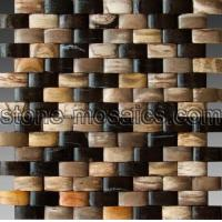 Wholesale arc 3D unique stone mosaic tiles fossil petrified wood marble mosaic 165 from china suppliers