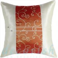 China CREAM Silk Decorative Pillow Cases w/ Orange Embroidered Middle Stripe on sale