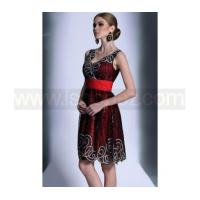 Square neck black red short prom dresses & sparkly homecoming dress with sequin