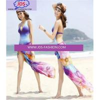 Wholesale Scarves Womens Wrap Dress Pareo Sarong Beach Floral Swimwear Cover Up Chiffon Scarf from china suppliers
