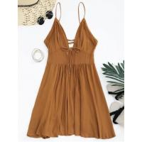 Wholesale Dresses Plunge Low Back Lace Up Sundress - Light Brown M from china suppliers