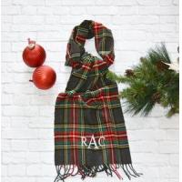 Wholesale Monogrammed Plaid Scarf - Charcoal Red & Green from china suppliers