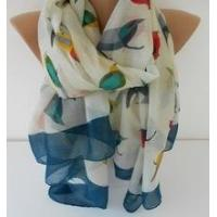 2015 new fashion print bird Oversize Scarf women